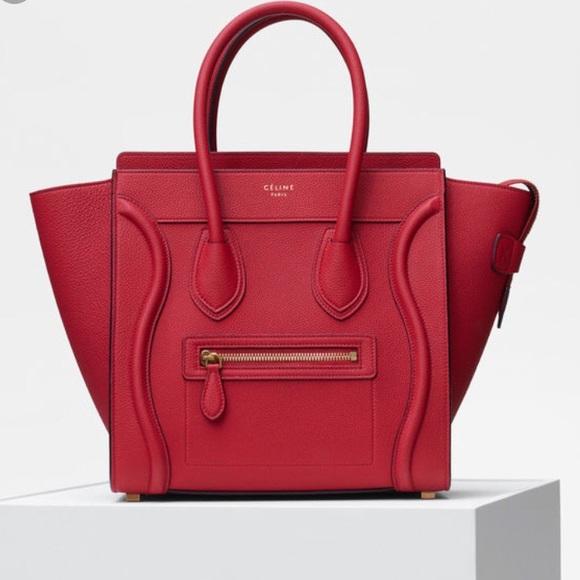 Celine Handbags - Authentic Celine MINI Luggage Vermillion 1288d6386161a